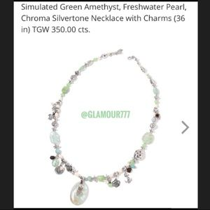 Jewelry - Statement Necklace, sim. Green Amethyst Real Pearl